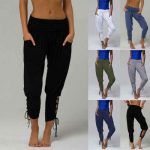 LD Women Solid Color Lace Up Jogger